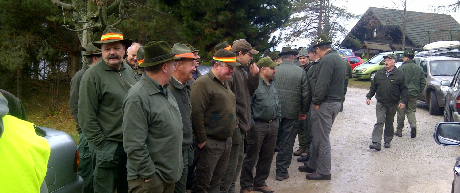 a communal hunt where traditions are practiced, instructions at the start, green clothing & hats