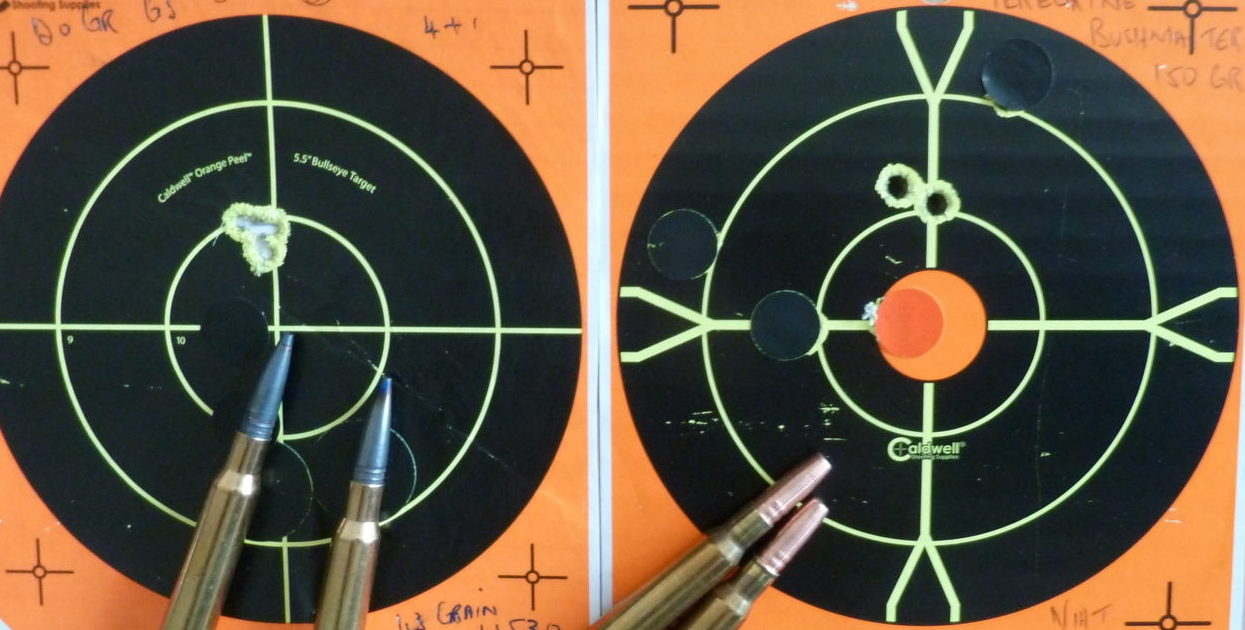 "GS Custom 120gr 2950 fts and Peregrine VGR3 150gr 2600 fts. The bushmasters shoot 1"" higher at 100m"