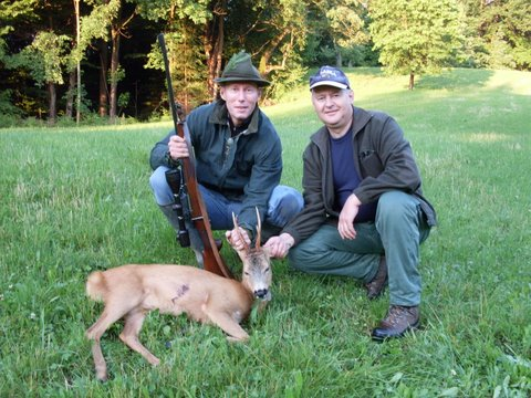 My first Rhoe Deer in Slovenia with my mentor Dusan. The hat & last bite placed in the mouth of the deer is tradition